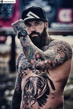 Hot tattoos, body art tattoos, tattoos for guys, tatted men, hommes sexy Sexy Tattooed Men, Bearded Tattooed Men, Hot Bearded Men, Tattoed Guys, Bart Tattoo, Hot Guys Tattoos, Men With Tattoos, Tatted Men, Rugged Men