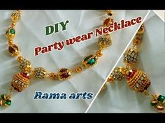 partywear Stone beaded necklace - How to make partywear necklace Silk Thread Necklace, Thread Bangles, Thread Jewellery, Diy Jewelry, Jewelry Necklaces, Beaded Bracelets, Diy Party Wear, Trendy Necklaces, Diy Necklace