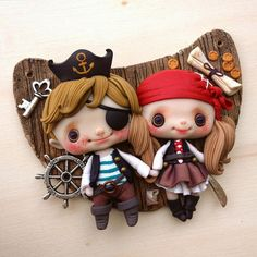 """Super Cute Pirates #nobuhappyspooky #polymerclay #cute #pirates #couple #love #sweet #sculp #handmade #fimo"""