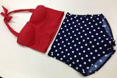 New High Waist Swimwear Bikini Retro Vintage Corset Top and Polka Bottom   eBay