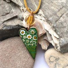Mosaic heart daisy necklace Mustard Yellow jewellery | Etsy