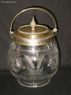 Victorian Silver Mounted Glass Biscuit Barrel.