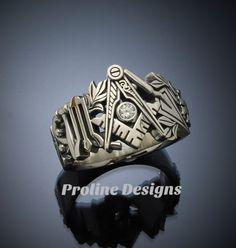 Masonic Ring in Gold with .08ct. Diamond by Proline Designs #masonicring #freemasonry