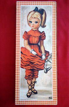 this Maio print Vintage Prints, Vintage Art, Vintage Style, 60s Art, Retro Art, Margaret Keane, Blue Hair Bows, Cute Clown, Little Charmers