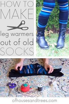 DIY leg warmers made out of old socks. Sewing Projects, Diy Projects, Green Living Tips, My Sewing Room, Eco Friendly Fashion, Diy Clothing, Animals For Kids, Creative Crafts, Leg Warmers