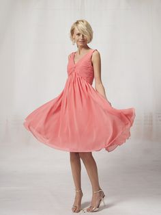 V Neck Chiffon Bridesmaid Dress with Beaded Bodice