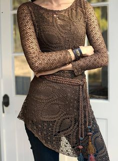 This crochet top looks amazing. It's so surprising how the new yarns and yarn colors change up the old patterns!