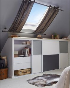 Window curtains for attic rooms - 20 modern ideas - Dachzimmer - Attic Bedroom Kids, Attic Bedrooms, Bedroom Decor, Attic Bathroom, Bathroom Plumbing, Bedroom Furniture, Attic Renovation, Attic Remodel, Attic Window