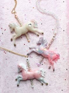 Iredescent Pastel Magical Pony Necklace Pendant