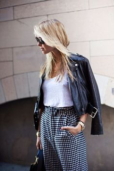 leather / houndstooth