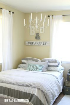 Bed & Breakfast signage in a guest bedroom, so cute.