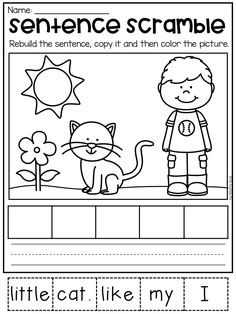 Sentence scramble worksheet for kindergarten. Students cut out the words and paste them in order to form a sentence. This is perfect for literacy centers, homework, intervention and reading groups. Kindergarten Lessons, Kindergarten Writing, Kindergarten Worksheets, Kindergarten Classroom, Teaching Reading, Guided Reading, Classroom Decor, Learning Activities, Kids Learning