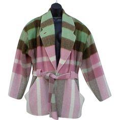 Super Warm Alpaca Wool Coat Neapolitan Ice Cream Colors XXL