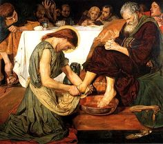 Ford Madox Brown Jesus washing Peter's feet at the Last Supper Oil on canvas 1865 Tate Gallery (London, United Kingdom) Dante Gabriel Rossetti, Works Of Mercy, John Everett Millais, Holy Thursday, Tate Gallery, Biblical Art, Morris, Spiritus, Last Supper