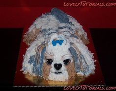 3D carved Shih Tzu dog cake tutorial