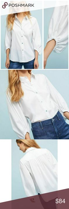 NWT, ANTHROPOLOGIE Balloon-Sleeve Poplin Shirt A new take on the white buttondown!!  Cotton, nylon, spandex Balloon sleeves Button front Hand wash Imported Purchased at Anthropologie By Sunday in Brooklyn Size XS Anthropologie Tops