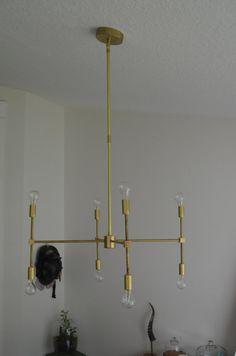 Modern Brass hanging pendant chandelier lighting. The Scarlett model. Sputnik Retro Minimalist style. $400 easy