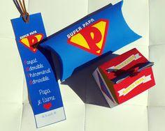 Kit super papa à fabriquer : - une boîte à garnir de petits biscuits faits maison pour les papas gourmands ou autre petit cadeau - une pillow box (boîte coussin) qui peut accueillir un chèque cadeau, un dessin ou petit mot de votre enfant, des tickets à gratter... - un marque-pages
