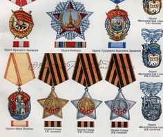 Russian Military Medals Honors Stars by AntiquePrintsAndMaps, $6.00
