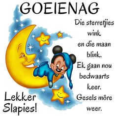 Goeie nag Evening Quotes, Afrikaanse Quotes, Goeie Nag, Good Night Sweet Dreams, Prayer Quotes, Friendship Quotes, Winnie The Pooh, Disney Characters, Fictional Characters