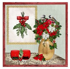 """Holiday Flower Arrangement ~ contest"" by loves-elephants ❤ liked on Polyvore featuring art"