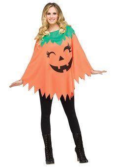 Pumpkin Poncho Costume for Women - FOREVER HALLOWEEN