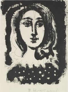 Pablo Picasso (Málaga, Spain, 1881-1973, Mougins, France), Woman with polka dot bodice, 1947. Etching, sugar-lift aquatint on China paper. Meadows Museum Modern and Contemporary Artists Collection