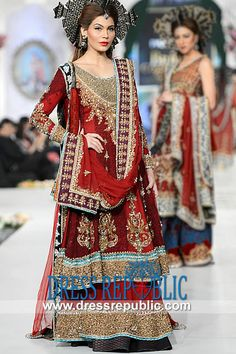 Deep Red Azwer - DR9812, Rani Emaan Wedding Dresses Collection 2013, Bridal Lehenga Sharara Gharara 2013 Designs by www.dressrepublic.com
