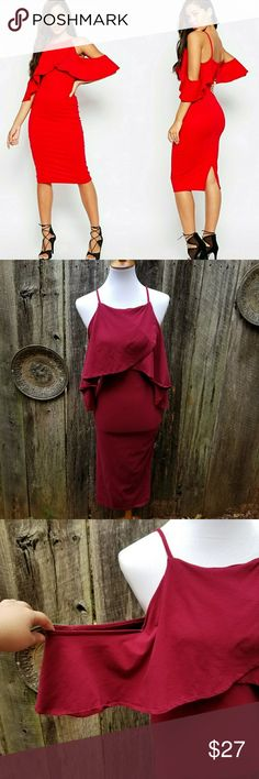 """ASOS Cold Shoulder Bodycon Midi Dress Excellent used condition. No flaws found.   BUNDLE AND SAVE. MAKE AN OFFER.   ALL MEASUREMENTS ARE APPROXIMATE AND TAKEN FROM SEAM TO SEAM.   Bust: 17"""" Waist: 15""""  Length: 44"""" ASOS Dresses Midi"""
