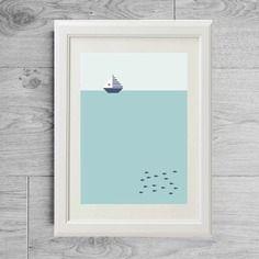 Affiche scandinave mer - Affiche paysage - Affiche mer - Poster scandinave - Affiche minimaliste - Affiche moderne - Affiche géométrique