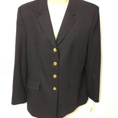 New Talbots Blazer Timeless Classic Size 12 Stretch Wool 4 Gold Buttons RV $178 #Talbots #Blazer