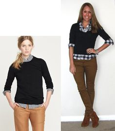 I think I like J's combo of plaid, navy sweater, brown pants better than the inspiration piece.