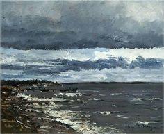 Shore - Helge Dahlman 1978 Finnish, 1924–1979 oil on board , 22 x 26 cm. (8.7 x 10.2 in.)