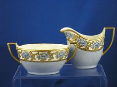 "Zeh, Scherzer & Co. Bavaria Arts & Crafts Blue & Gold Floral Motif Creamer & Sugar Set (Signed ""E. Lundstrom Rowland""/c.1880-1925)"