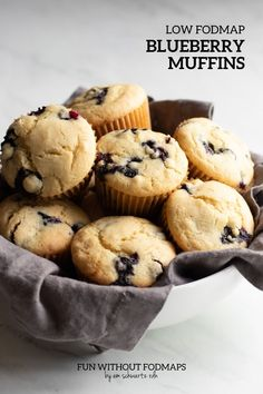 Enjoy these warm, fluffy low FODMAP blueberry muffins for breakfast or dessert. They're made with just 9 ingredients including low FODMAP amounts of blueberries, gluten-free flour, and almond milk. #lowfodmap #muffin #dessert #breakfast No Dairy Recipes, Fodmap Recipes, Baking Recipes, Diet Recipes, Snack Recipes, Dessert Recipes, Low Fodmap, Fodmap Diet, Low Food Map Diet
