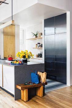 handmade black-and-white Moroccan floor tiles, statement refrigerator