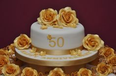 Golden Wedding Anniversary Cake and Cupcakes by Finesse Cakes