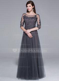 Evening Dresses - $170.49 - A-Line/Princess Scoop Neck Floor-Length Tulle Evening Dress With Lace Beading (017025440) http://jenjenhouse.com/A-Line-Princess-Scoop-Neck-Floor-Length-Tulle-Evening-Dress-With-Lace-Beading-017025440-g25440/?utm_source=crtrem&utm_campaign=crtrem_US_20898