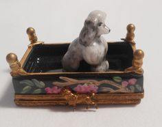 LIMOGES GENUINE PAINT MEIN PORCELAIN TRINKET BOX FRENCH POODLE BEST IN SHOW $329
