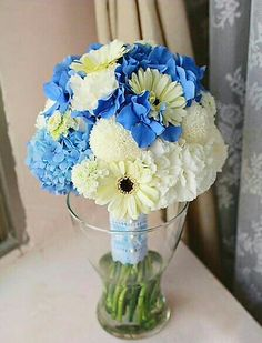 """Round Wedding Bouquet Comprised Of: Blue Hydrangea, White Hydrangea, White Gerbera Daisies, Round White """"Pom Pom"""" Mums Pink Hydrangea Wedding, Blue Hydrangea, Wedding Flowers, Bridesmaid Bouquet, Wedding Bouquets, Gerbera Daisies, Maid Of Honor, Wedding Stuff, Lilac"""