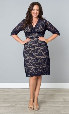 Go for a classic lace cocktail dress like our plus size Scalloped Boudoir Lace Dress, but in a non-traditional color like navy.  You'll stand out beautifully while others will be in their little black dresses.  Explore more made in the USA fashion at www.kiyonna.com.  #KiyonnaPlusYou