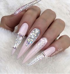 Nude Pink Stiletto Nails by MargaritasNailz from Nail Art Gallery Pink Stiletto Nails, Glam Nails, Bling Nails, Bling Nail Art, Pink Bling, White Nails, Nagel Bling, Space Nails, Nagellack Design