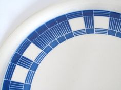 Large Vintage Art Deco 1920s Dark Blue and White by EbyglassETC, €18.95