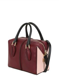 TOD'S - D-CUBE LEATHER MINI BAULETTO BAG - LUISAVIAROMA - LUXURY SHOPPING WORLDWIDE SHIPPING - FLORENCE