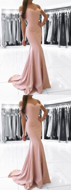 Pink Prom Dresses, Long Prom Dresses, Cheap Prom Dresses 2018, Modest Prom Dresses For Teens, Silk-like Satin Prom Dresses Off-the-shoulder, Trumpet/Mermaid Prom Dresses Sashes / Ribbons #pinkdress #prom #evening
