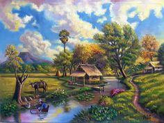 Nature Paintings, Beautiful Paintings, Landscape Paintings, Landscapes, Oil Painting Supplies, Art Village, Nature Drawing, Painting Wallpaper, Naive Art