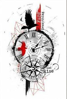 New Tattoo Compass Design Trash Polka 42 Ideas Trendy Tattoos, New Tattoos, Body Art Tattoos, Tattoos For Guys, Sleeve Tattoos, Cool Tattoos, Clock Tattoo Design, Compass Tattoo Design, Tattoo Designs
