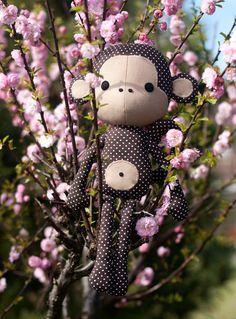 Sewing pattern Cute Monkey cloth doll plushie PDF by DIYFluffies