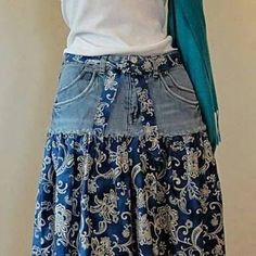 Distressed Long Jean Skirt – Made to Order Upcycled Long Jean Skirt Jean Skirt -Upcycled Denim and Printed Cotton The post Distressed Long Jean Skirt – Made to Order Upcycled Long Jean Skirt appeared first on Welcome! Diy Clothing, Sewing Clothes, Modest Clothing, Modest Outfits, Skirt Outfits, Summer Outfits, Short Jean Skirt, Short Jeans, Blue Jean Skirts