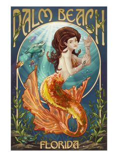 Palm Beach, Florida - Mermaid Scene Print by Lantern Press at Art.com